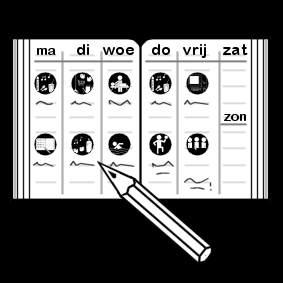 planner with pictograms