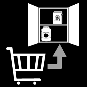groceries: store in the cupboard