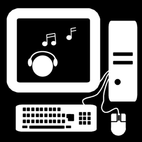 computer: listen to music / listen to music on the computer